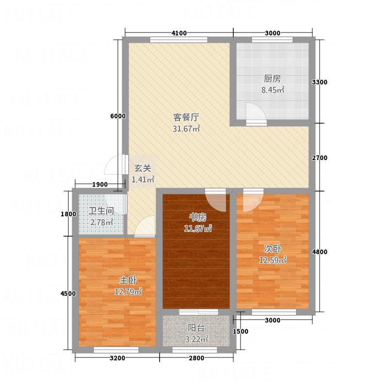 龙屿・香醍溪苑11.00㎡B2户型3室2厅1卫1厨