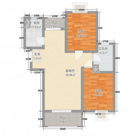 唐宁大道2室1厅1卫1厨7516.00㎡户型图