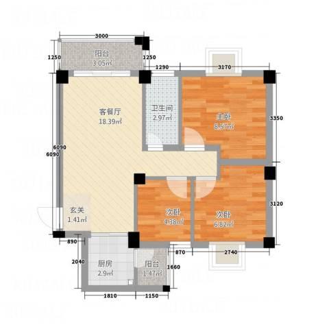 侨兴・宝翠园3室1厅1卫1厨72.00㎡户型图