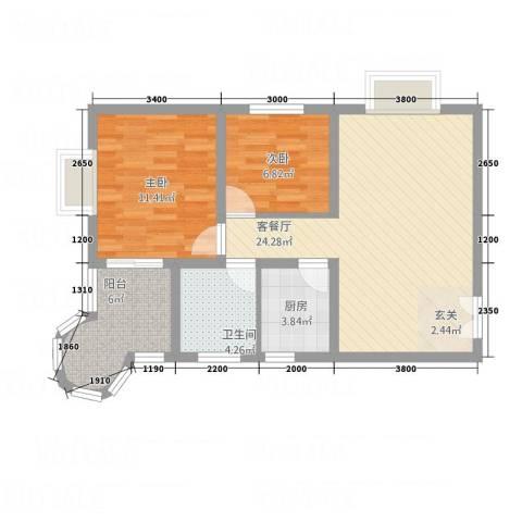 悦园豪庭2室1厅1卫1厨84.00㎡户型图