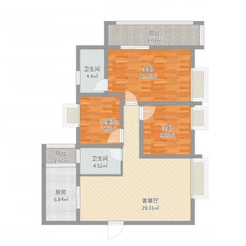 学府花园3室1厅2卫1厨131.00㎡户型图