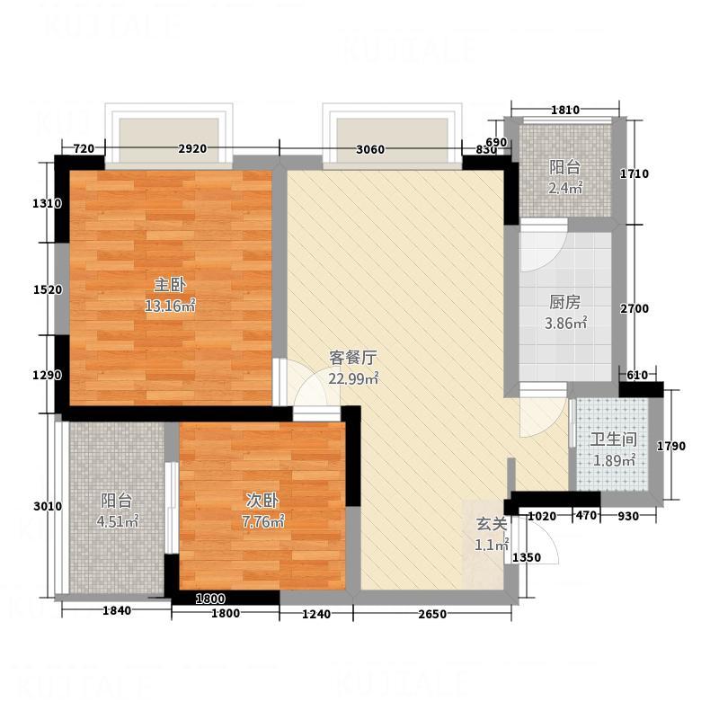 东湖尚�13174.16㎡E1E3F1F3户型2室2厅1卫1厨