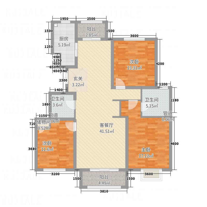 中湖珐琅印18号楼K标准层户型