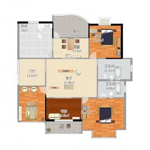 锦绣华庭4室2厅2卫1厨244.00㎡户型图