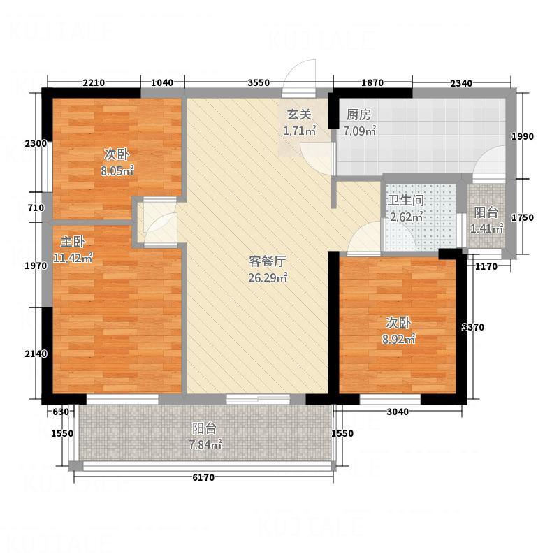 香港城2期11.50㎡B3户型3室2厅1卫1厨