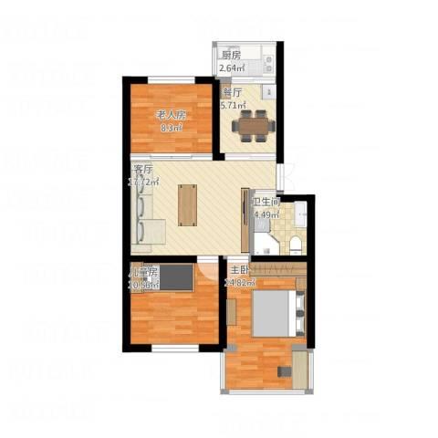 清泰小区3室2厅1卫1厨75.80㎡户型图