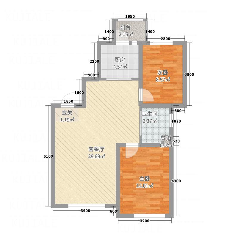 顺吉-上河湾单B新-高层A1户型2室2厅1卫1厨