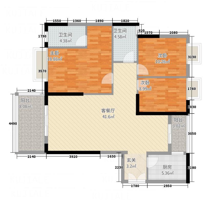 郦岛嘉园132.00㎡K3户型3室2厅2卫1厨