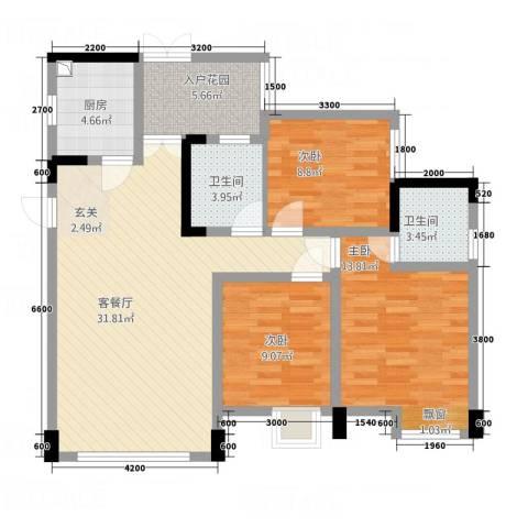 天悦府3室1厅2卫1厨118.00㎡户型图