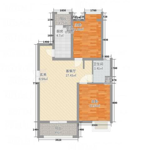 唐宁大道2室1厅1卫1厨2351.00㎡户型图