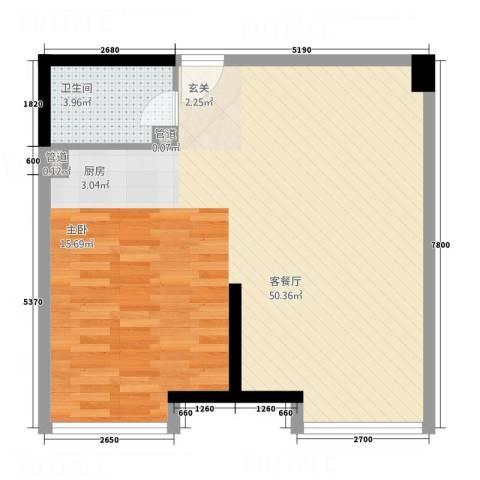 乐颐大厦1厅1卫0厨75.00㎡户型图
