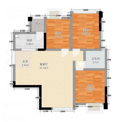 天悦府3室1厅1卫1厨101.00㎡户型图