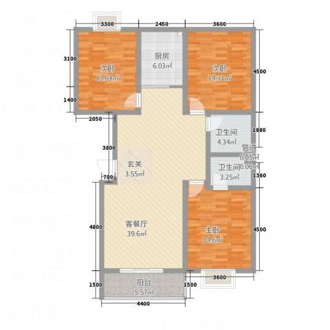 水墨世嘉3室1厅2卫1厨114.81㎡户型图