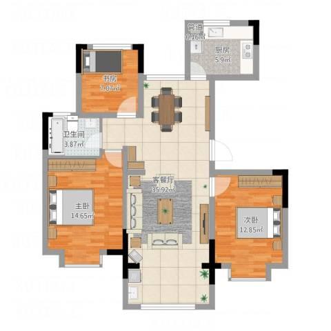 东南郡3室1厅1卫1厨114.00㎡户型图