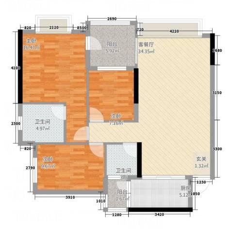 信德上城3室1厅2卫1厨88.34㎡户型图