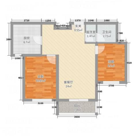 首创・象墅2室2厅1卫1厨82.00㎡户型图
