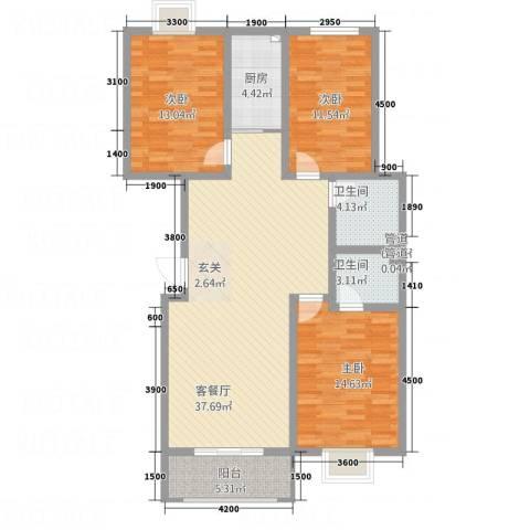 水墨世嘉3室1厅2卫1厨107.58㎡户型图