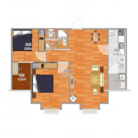 紫金新干线二期3室1厅2卫1厨98.00㎡户型图