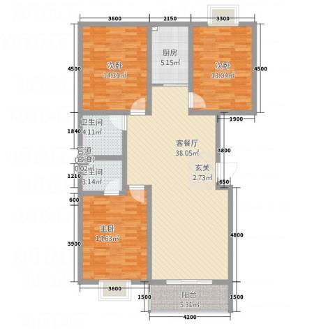 水墨世嘉3室1厅2卫1厨111.64㎡户型图