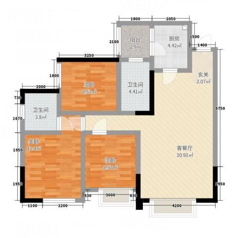 天悦府3室1厅2卫1厨111.00㎡户型图