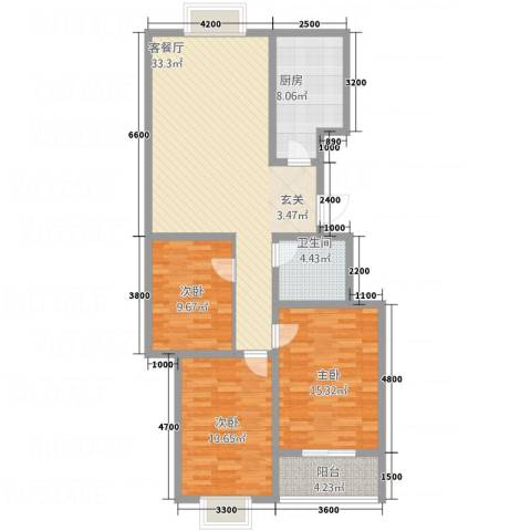 水墨世嘉3室1厅1卫1厨101.21㎡户型图