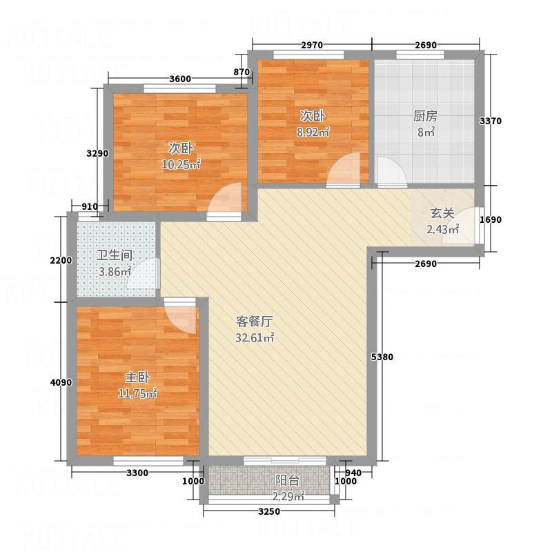 首创・象墅A户型3室2厅1卫1厨