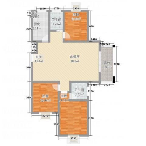 鼎天广场3室1厅2卫1厨137.00㎡户型图
