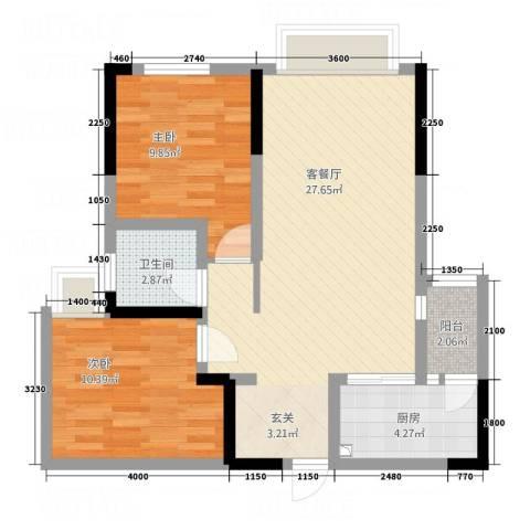 天悦府2室1厅1卫1厨84.00㎡户型图