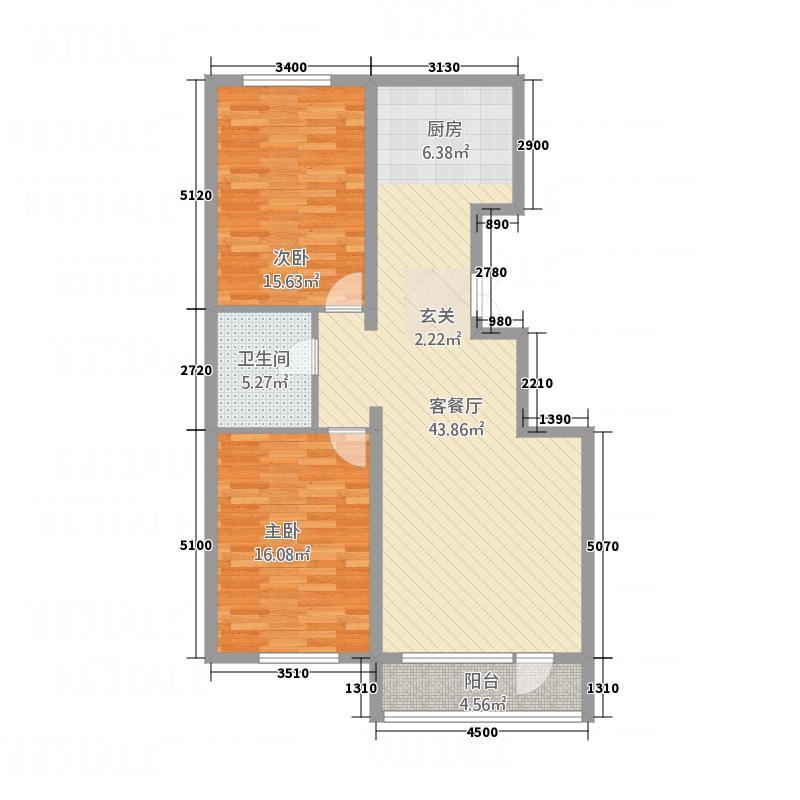 阳光水岸14.81㎡B户型2室2厅1卫
