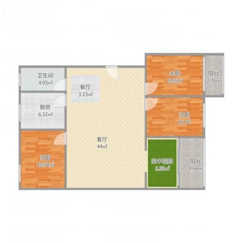 泰和花园3室1厅1卫1厨120.00㎡户型图