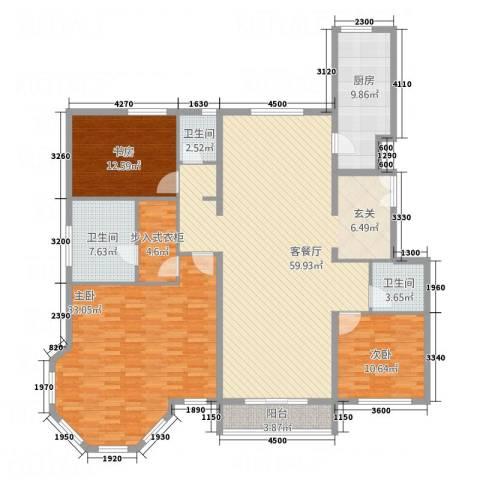 首创・象墅3室1厅3卫1厨148.34㎡户型图