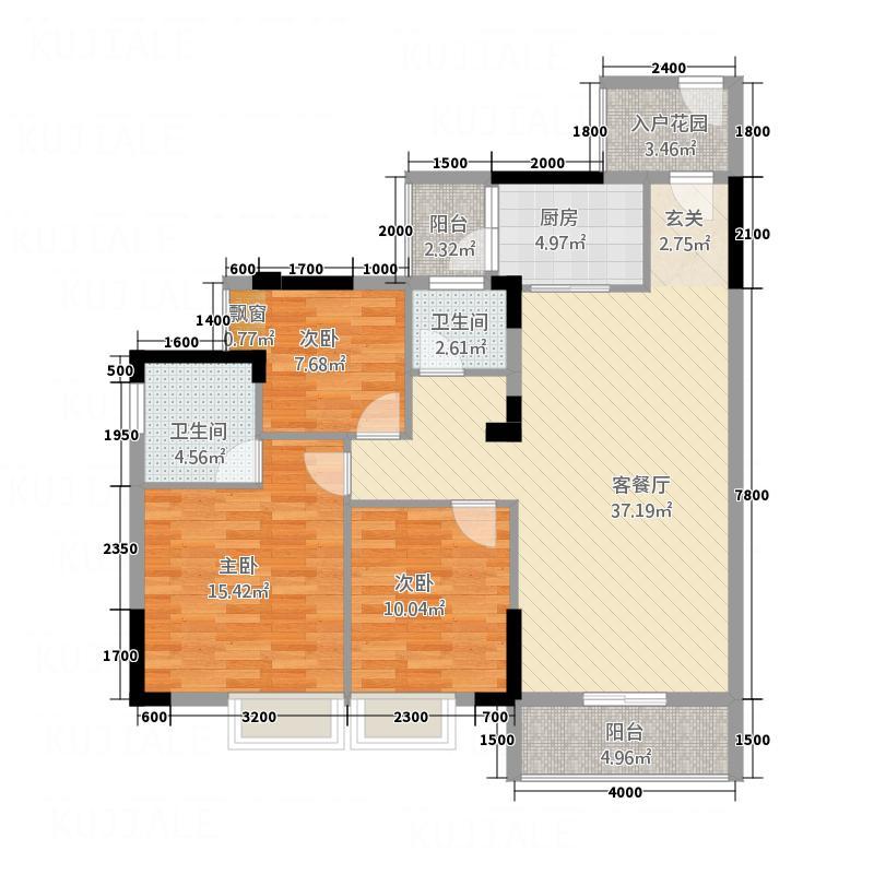 凤凰新城113.71㎡户型3室1厅2卫1厨