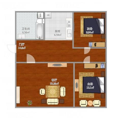 21中学区2室1厅1卫1厨97.00㎡户型图
