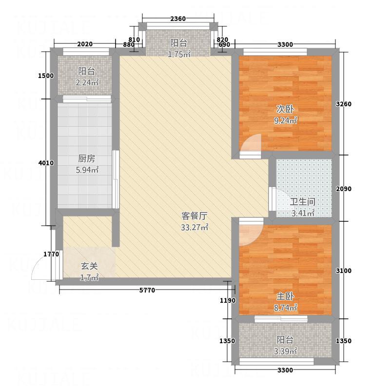 泰安・民生景园14.70㎡D通透两居户型2室2厅1卫1厨