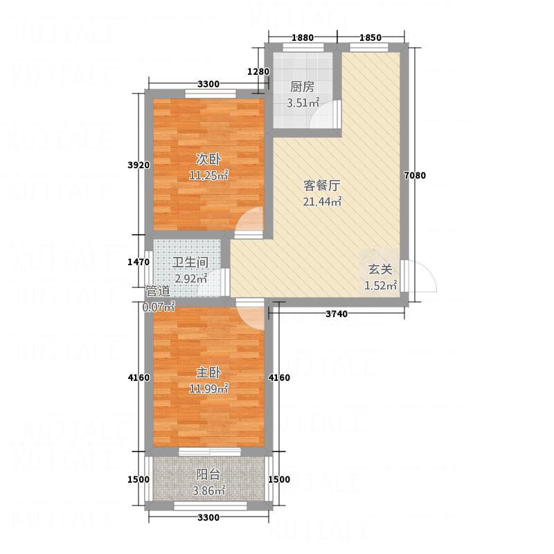 天保新城户型2室2厅1卫1厨