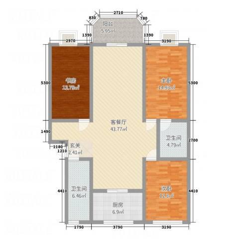阳光海岸荷兰新城3室1厅2卫1厨155.00㎡户型图