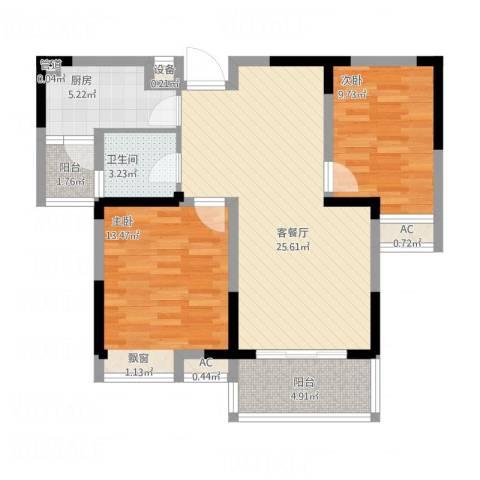 九龙湖金泽苑2室1厅1卫1厨96.00㎡户型图