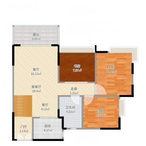 锦绣名庭3室1厅1卫1厨86.00㎡户型图