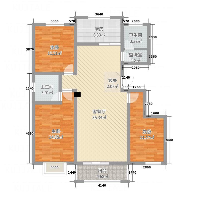 天保新城户型3室2厅2卫1厨