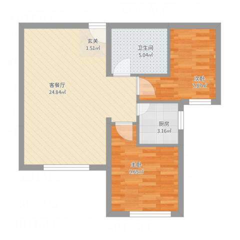荷兰小镇二期2室1厅1卫1厨71.00㎡户型图