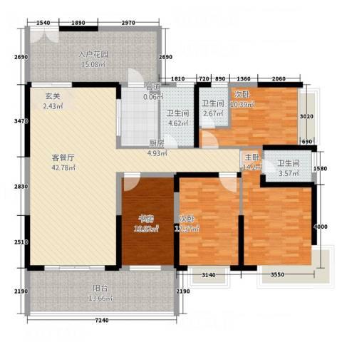 万和乐华花园4室1厅3卫1厨135.16㎡户型图