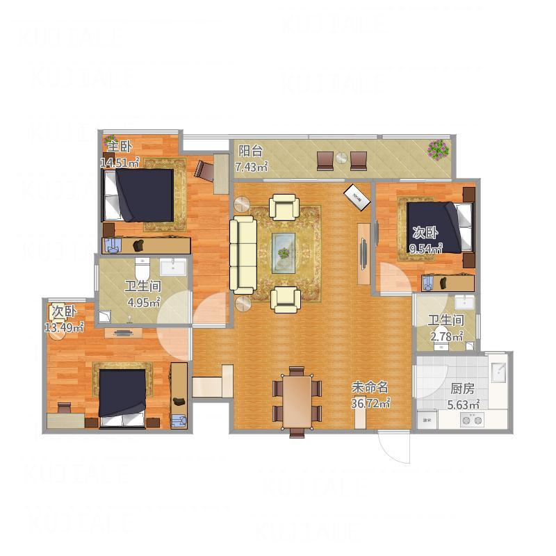 国际新城130平三室两厅