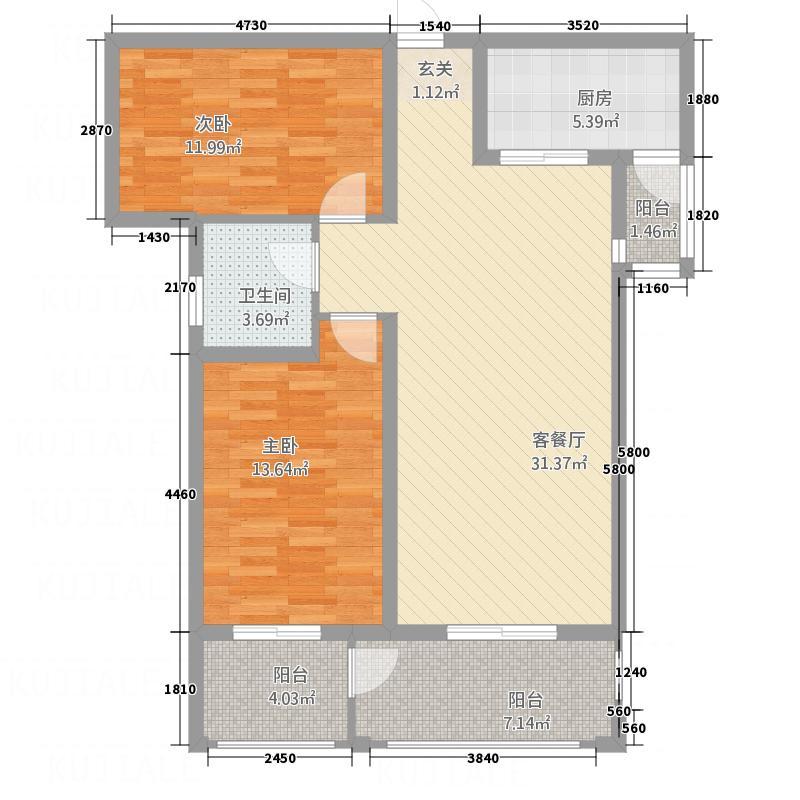 润城・公园印象7.57㎡5户型2室2厅1卫1厨