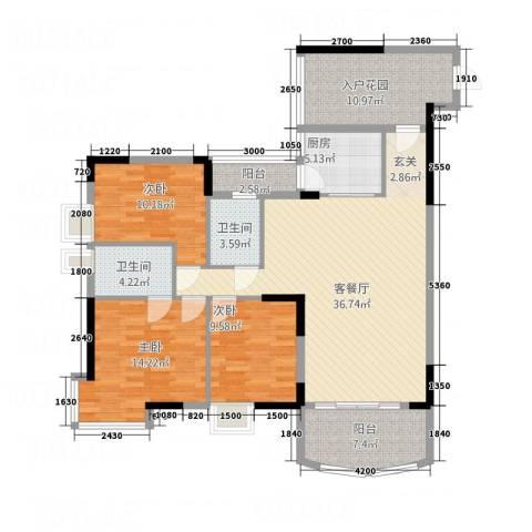 凯旋居3室1厅2卫1厨128.00㎡户型图