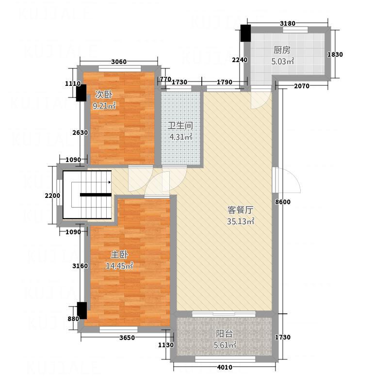 雷诺名郡112215.12㎡B1C户型2室2厅1卫1厨