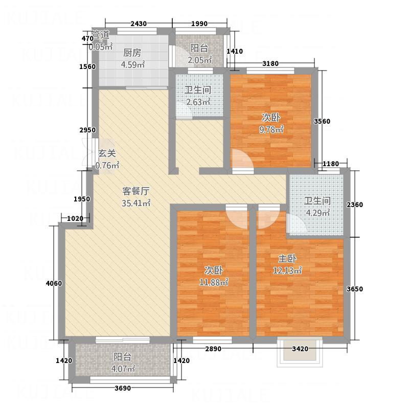 左岸国际32126.20㎡E户型3室2厅2卫1厨