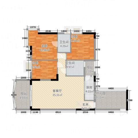 凯旋居3室1厅2卫1厨127.00㎡户型图
