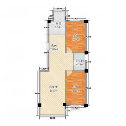 金瑞尚品2室1厅1卫1厨168.00㎡户型图