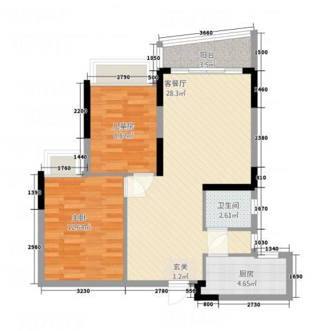 骏景约克公寓2室1厅1卫1厨86.00㎡户型图
