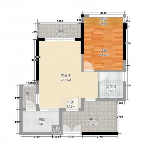 东方・比华利山庄1室1厅1卫1厨868.00㎡户型图